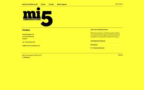 Screenshot of Contact Page mi5communications.com - Mi5 Communications    » Contact - captured June 10, 2017