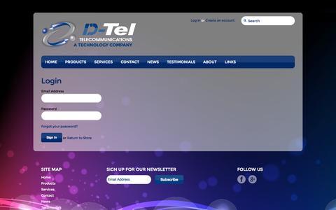 Screenshot of Login Page dteltel.com - Account – DTel Telecommunications - captured Oct. 1, 2014