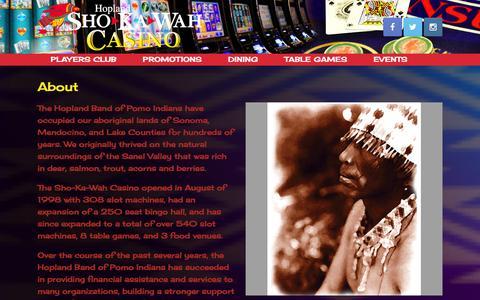 Screenshot of About Page shokawah.com - About | Hopland Sho-Ka-Wah Casino - captured Jan. 1, 2016