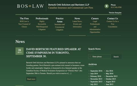 Screenshot of Press Page boslaw.ca - Bertschi Orth Solicitors and Barristers LLP - Canadian Insurance and Commercial Law Firm - captured Nov. 22, 2016