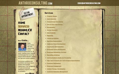 Screenshot of Services Page anthroconsulting.com - Services - Anthroconsulting - captured Sept. 30, 2014