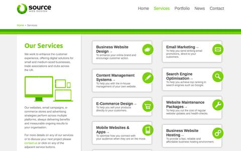 Screenshot of Services Page sourcedesign.co.uk - Business Web Design, Search Engine Optimisation, E-Commerce and Email Marketing from Source Design, Hinckley - captured Oct. 6, 2014
