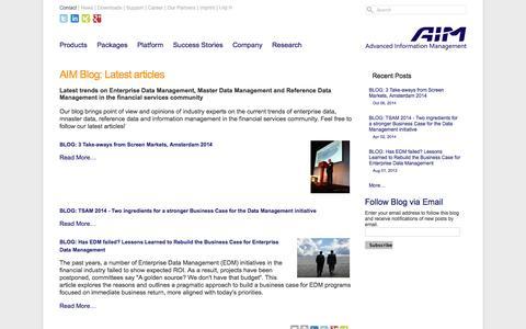 Screenshot of Blog aimsoftware.com - AIM Blog: Latest articles — AIM Software - captured Oct. 29, 2014