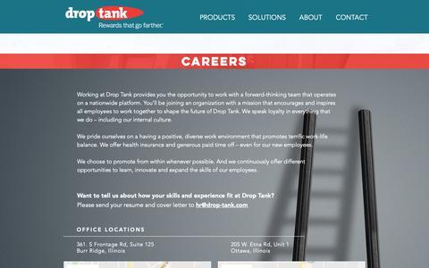 Screenshot of Jobs Page drop-tank.com - droptank   CAREERS - captured Oct. 9, 2018