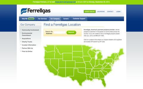 Screenshot of Locations Page ferrellgas.com - Ferrellgas, Your Propane Gas Company - Propane Dealer Locations - captured Sept. 19, 2014