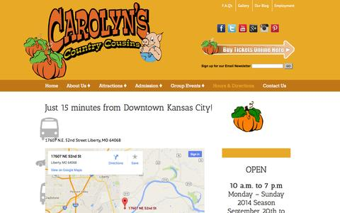 Screenshot of Maps & Directions Page carolynscountrycousins.com - Hours & Directions - 15 minutes from Downtown Kansas City! - captured Sept. 29, 2014