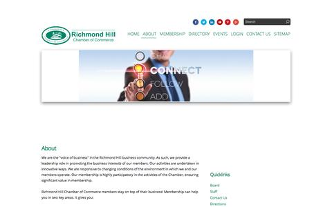 Screenshot of About Page rhcoc.com - About - Richmond Hill Chamber of Commerce | Richmond Hill, ON - captured Feb. 15, 2016