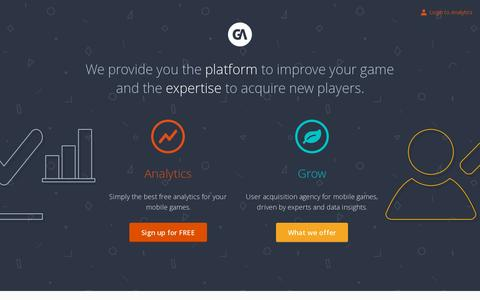 Screenshot of Home Page gameanalytics.com - GameAnalytics For Game Developers Know the facts Improve and Monetize - captured July 11, 2014