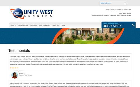 Screenshot of Testimonials Page uwlending.com - Unity West Lending - Testimonials - captured Oct. 1, 2018