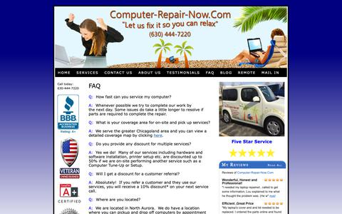 Screenshot of FAQ Page computer-repair-now.com - Frequently Asked Questions about Computer-Repair-Now.Com - captured Sept. 29, 2018