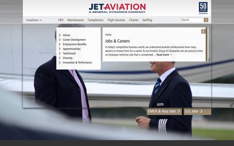 Screenshot of Jobs Page jetaviation.com - Jobs & Careers | jetaviation.com - captured Oct. 16, 2017