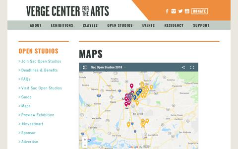 Screenshot of Maps & Directions Page vergeart.com - Verge Center for the Arts - captured Oct. 18, 2018