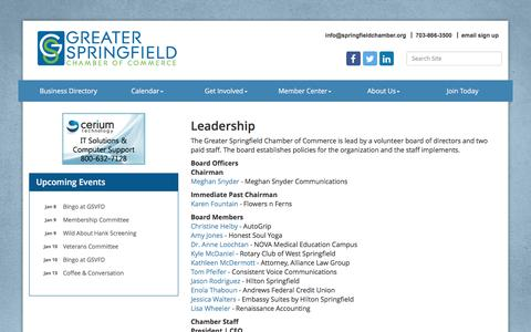 Screenshot of Team Page springfieldchamber.org - Leadership - Greater Springfield Chamber of Commerce,VA - captured Jan. 2, 2017