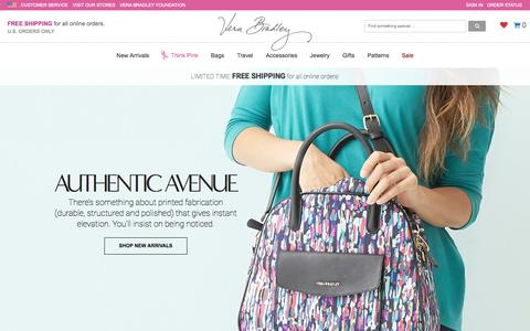 Screenshot of Home Page verabradley.com - Bags, Handbags, Purses, Backpacks | Vera Bradley - captured Oct. 1, 2015