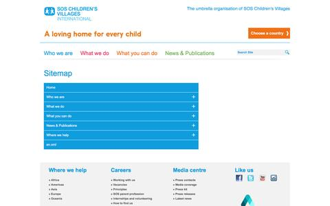 Screenshot of Site Map Page sos-childrensvillages.org - Sitemap - SOS Children's Villages International - captured May 26, 2017