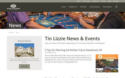 Screenshot of Press Page tinlizzie.com - Deadwood Events | Tin Lizzie - captured Nov. 16, 2018