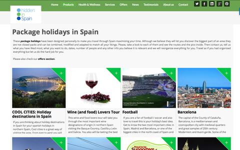 Screenshot of Products Page hiddeninspain.com - Package holidays in Spain - Hidden in Spain - captured July 19, 2018
