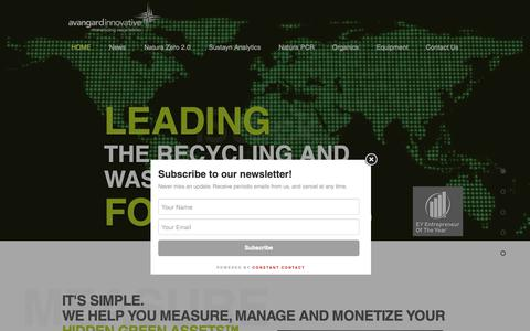 Screenshot of Home Page avaicg.com - Recycling and Waste Management | Houston | Avangard Innovative - captured Feb. 8, 2019