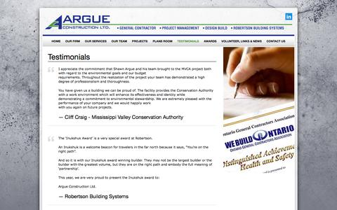 Screenshot of Testimonials Page argueconstruction.ca - Testimonials | Argue Construction - captured Oct. 4, 2014