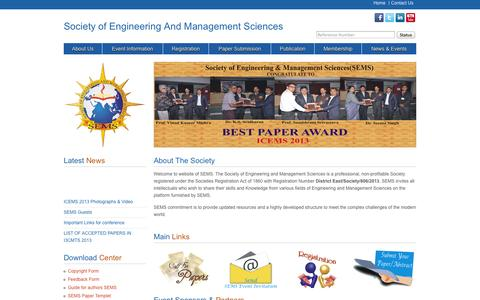 Screenshot of Home Page semsindia.org - Society of Engineering And Management Sciences - captured Sept. 30, 2014