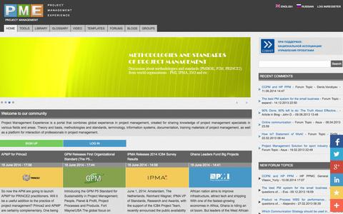Screenshot of Home Page pmexperience.org - project management | PROJECT MANAGEMENT EXPERIENCE - captured Oct. 3, 2014
