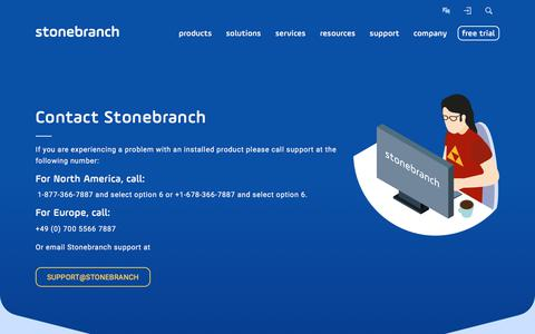Screenshot of Contact Page stonebranch.com - Contact   Stonebranch - captured June 17, 2017