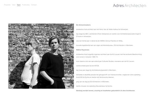 Screenshot of Team Page a-dres.be - A-dres Architecten — Team - captured Nov. 16, 2016