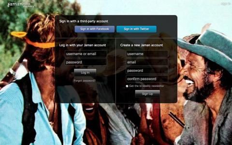 Screenshot of Login Page jaman.com - Sign In - Jaman Movie Discovery - captured Nov. 29, 2015