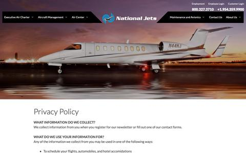 Screenshot of Privacy Page nationaljets.com - Privacy Policy - National Jets - captured Oct. 18, 2018