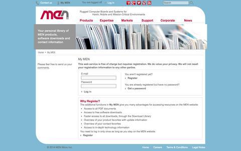 Screenshot of Login Page menmicro.com - My MEN - MEN - captured Oct. 3, 2014