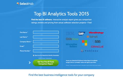 Screenshot of Landing Page selecthub.com - Top BI Software Analyst Report - captured Dec. 18, 2015
