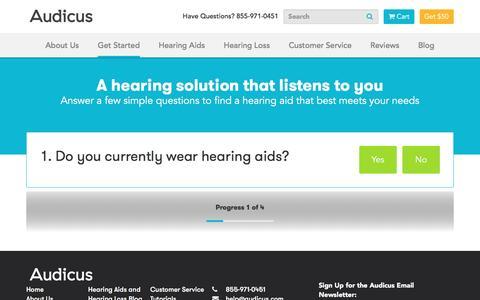 Screenshot of audicus.com - Get Started | Audicus Hearing Aids - captured Oct. 28, 2016