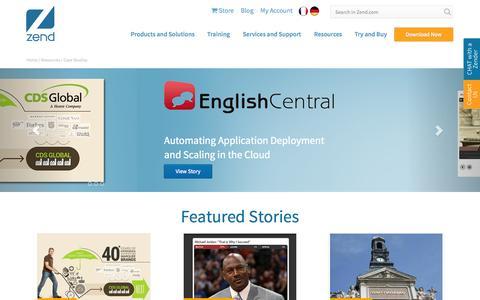 Screenshot of Case Studies Page zend.com - Zend Case Studies - we help companies of all sizes - captured Sept. 17, 2014