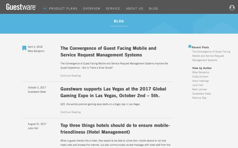 Screenshot of Blog guestware.com - Blog - Guestware - captured April 22, 2018