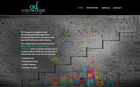 Screenshot of Home Page ad-vantage.in - AD-Vantage India: Adding Value to your Business. - captured Oct. 4, 2014