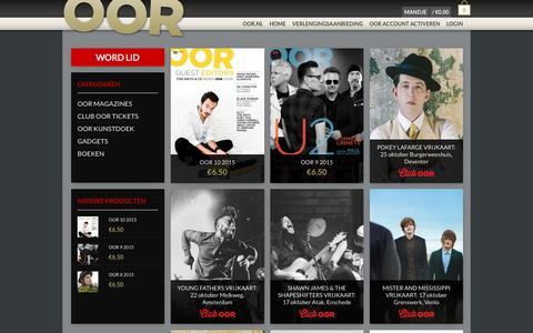 Screenshot of Home Page oor-shop.nl - Webwinkel - OOR webshop - captured Sept. 30, 2015