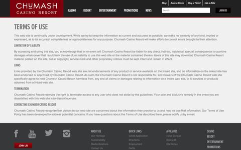 Screenshot of Terms Page chumashcasino.com - Terms of Use | Limitation of Liability - Chumash Casino Resort - captured Sept. 23, 2014
