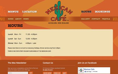 Screenshot of Hours Page mexicancafe.co.nz - The Mexican Cafe   Legendary Mexican Restaurant in Auckland's CBD - captured June 16, 2016