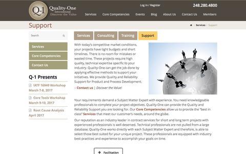 Screenshot of Support Page quality-one.com - Support | Quality and Reliability Support | Quality-One - captured Nov. 8, 2016