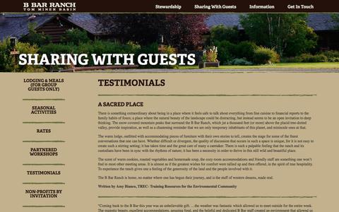 Screenshot of Testimonials Page bbar.com - Testimonials   B Bar Ranch - captured April 10, 2017
