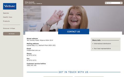 Screenshot of Contact Page virbac.com - Contact us - captured Oct. 20, 2018