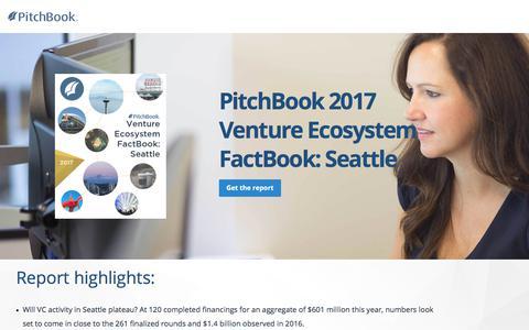 Screenshot of Landing Page pitchbook.com - PitchBook 2017 Venture Ecosystem FactBook: Seattle - captured Sept. 7, 2017