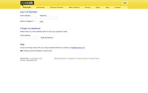 Screenshot of Login Page gymcalc.com - Log in to GymCalc - captured Dec. 16, 2015