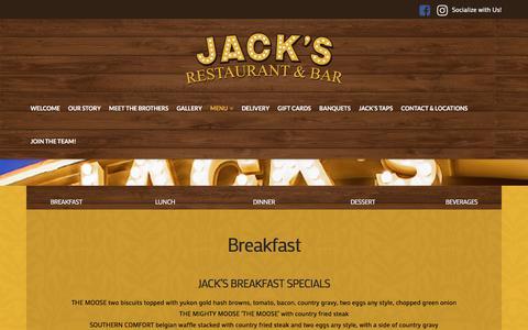 Screenshot of Menu Page ilovejacks.com - All-Menus | Jack's Resturant & Bar - captured July 6, 2018