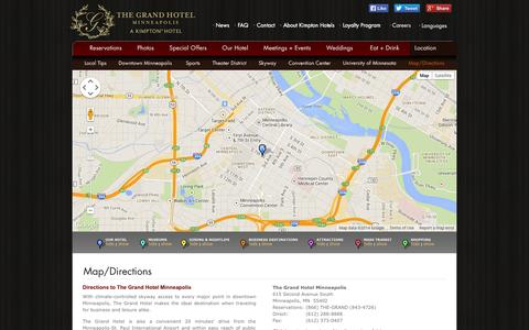 Screenshot of Maps & Directions Page grandhotelminneapolis.com - Directions To The Grand Hotel | The Grand Hotel in Minneapolis - captured Sept. 25, 2014