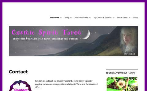 Screenshot of Contact Page cosmictarot.co.uk - Contact - Cosmic Spirit Tarot - captured June 29, 2018