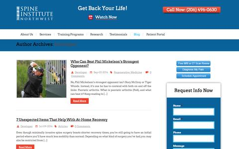 Screenshot of Developers Page spineinstitutenorthwest.com - Developer, Author at Seattle Spine Surgeons for Endoscopic Back Surgery & Disc Replacement TreatmentSeattle Spine Surgeons for Endoscopic Back Surgery & Disc Replacement Treatment - captured Sept. 30, 2014