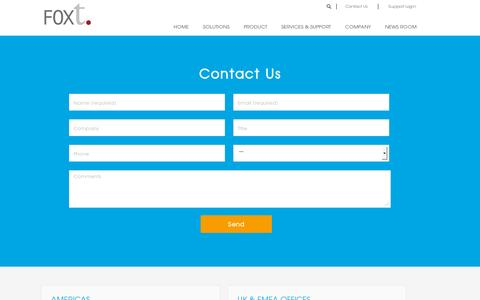 Screenshot of Contact Page foxt.com - Contact Us | FoxT Access Management Software - captured July 18, 2014