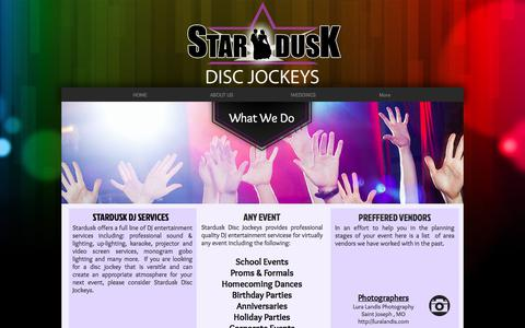 Screenshot of Services Page stardusk.com - DJ Service for St. Joseph MO & Kansas City KC MO area - captured Oct. 24, 2017