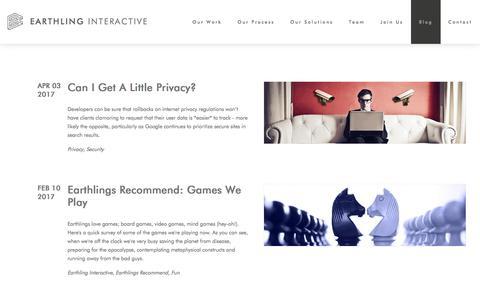 Screenshot of Blog earthlinginteractive.com - Earthling Interactive Blog - captured May 13, 2017